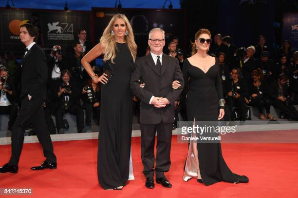 Tiziana Rocca Thierry Fremaux and Susan Sarandon from Kineo delegation walk the red carpet ahead of the 'The Leisure Seeker ' screening during the...
