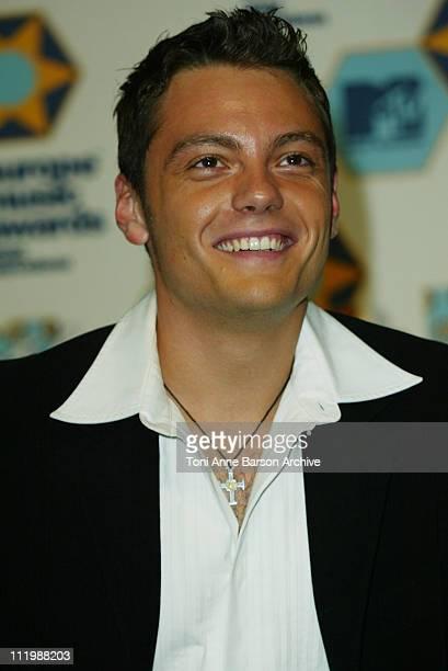 Tiziano Ferro during 2002 MTV European Music Awards Press Room at Palau Sant Jordi in Barcelona Spain