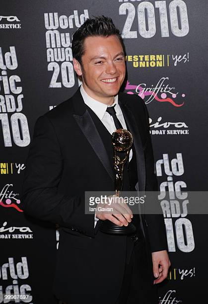 Tiziano Ferro poses in the press room during the World Music Awards 2010 at the Sporting Club on May 18 2010 in Monte Carlo Monaco