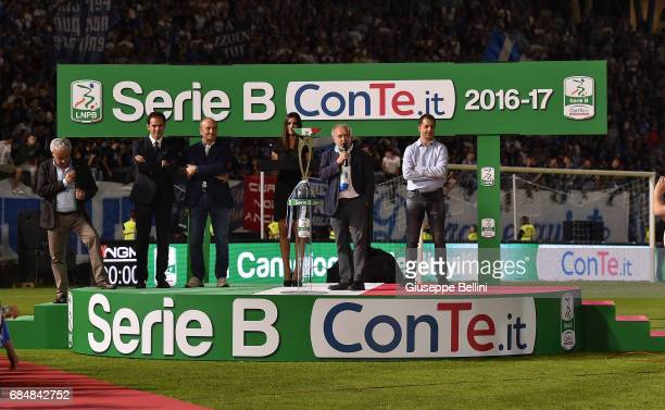 Tiziano Tagliani Mayor of Ferrara speaks on after the Serie B match between SPAL and FC Bari at Stadio Paolo Mazza on May 18 2017 in Ferrara Italy