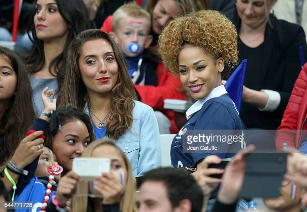 Tiziri Digne wife of Lucas Digne and Sephora Coman wife of Kingsley Coman attend the UEFA Euro 2016 quarter final match between France and Iceland at...