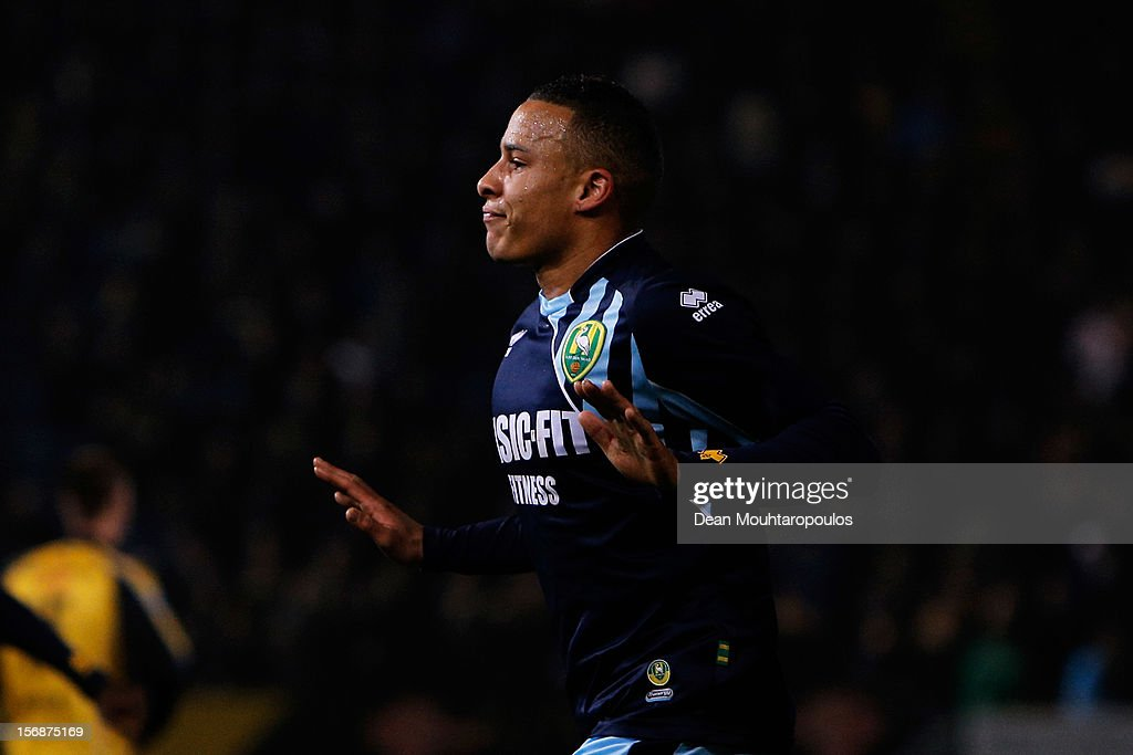 Tjaronn Chery of Den Haag celebrates scoring the second goal of the game during the Eredivisie match between NAC Breda and ADO Den Haag at the Rat Verlegh Stadium on November 23, 2012 in Breda, Netherlands.