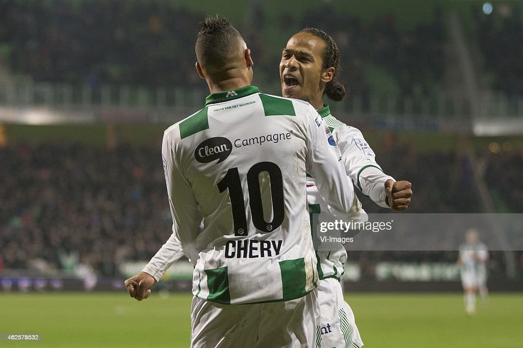 Tjaronn Chery of FC Groningen Jarchinio Antonia of FC Groningen during the Dutch Eredivisie match between FC Groningen and Go Ahead Eagles at the...
