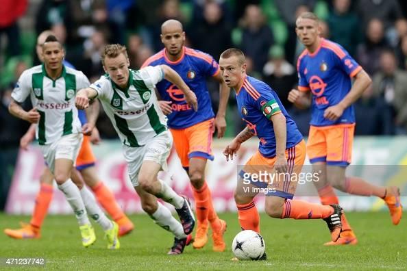 Tjaronn Chery of FC Groningen Maikel Kieftenbeld of FC Groningen Karim El Ahmadi of Feyenoord Jordy Clasie of Feyenoord Sven van Beek of Feyenoord...