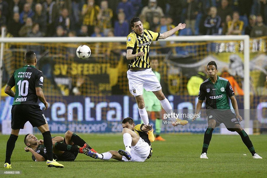 Tjaronn Chery of FC Groningen Mimoun Mahi of FC Groningen Denys Oliinyk of Vitesse Marko Vejinovic of Vitesse Danny Hoesen of FC Groningen during the...