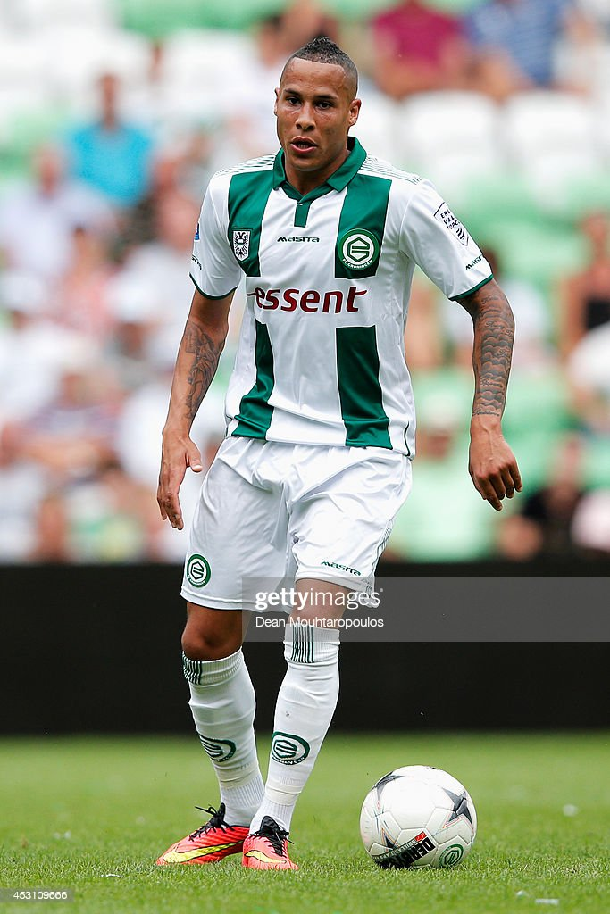 Tjaronn Chery of Groningen in action during the pre season friendly match between FC Groningen v Aston Villa held at the Euroborg on August 2 2014 in...