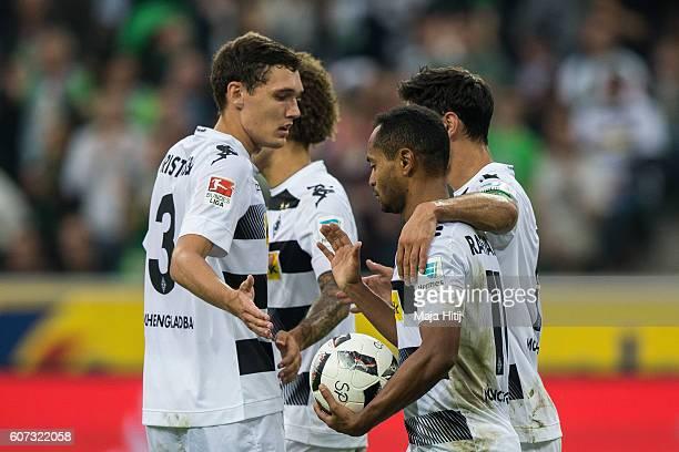 TLars Stindl Raffael Fabian Johnson and Andreas Christensen of Moenchengladbach celebrate after scoring a goal to make it 30 at the Bundesliga match...