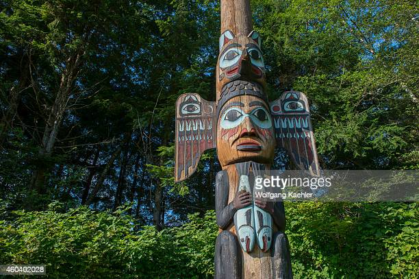 Tlingit totem pole at the Totem Bight State Historical Park in Ketchikan Southeast Alaska USA