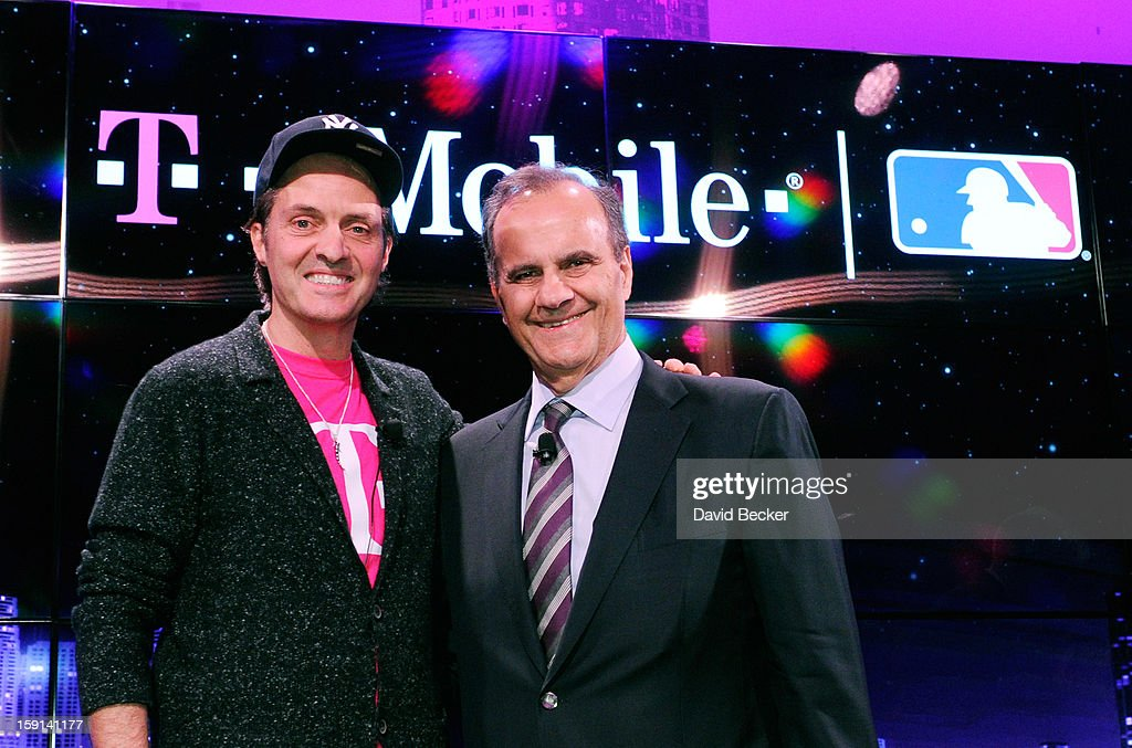 T-Mobile President and CEO John Legere (L) and Major League Baseball's Executive Vice President of Baseball Operations Joe Torre appear at a news conference at the 2013 International CES at The Venetian on January 8, 2013 in Las Vegas, Nevada. CES, the world's largest annual consumer technology trade show, runs through January 11 and is expected to feature 3,100 exhibitors showing off their latest products and services to about 150,000 attendees.