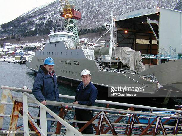 Picture taken 03 February 2004 showing gas fueled ferry Glutra under construction at Aker Langsten dockyard in Tomrefjord Western Norway French...