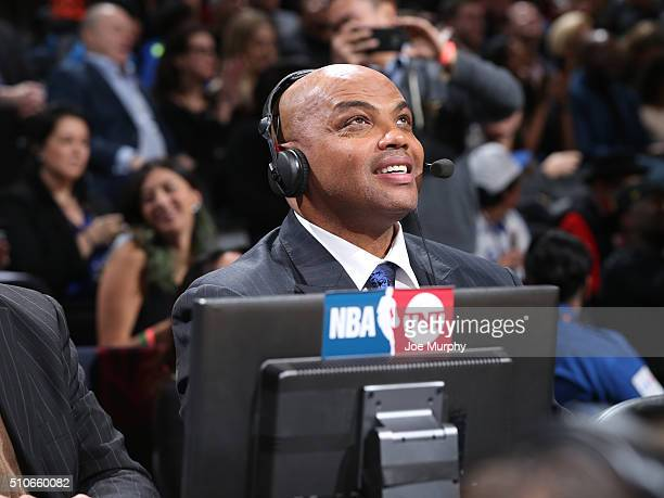 TNTs Inside the NBA analyst Charles Barkley during the Foot Locker ThreePoint Contest as part of NBA AllStar 2016 on February 13 2016 at Air Canada...