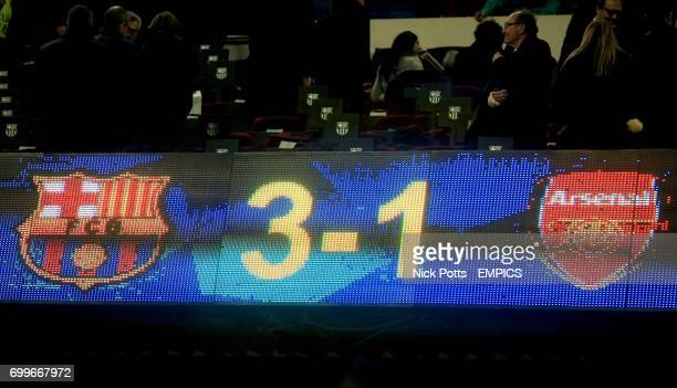 31 to Barcelona reads on the scoreboard as Arsenal are eliminated from the champions league