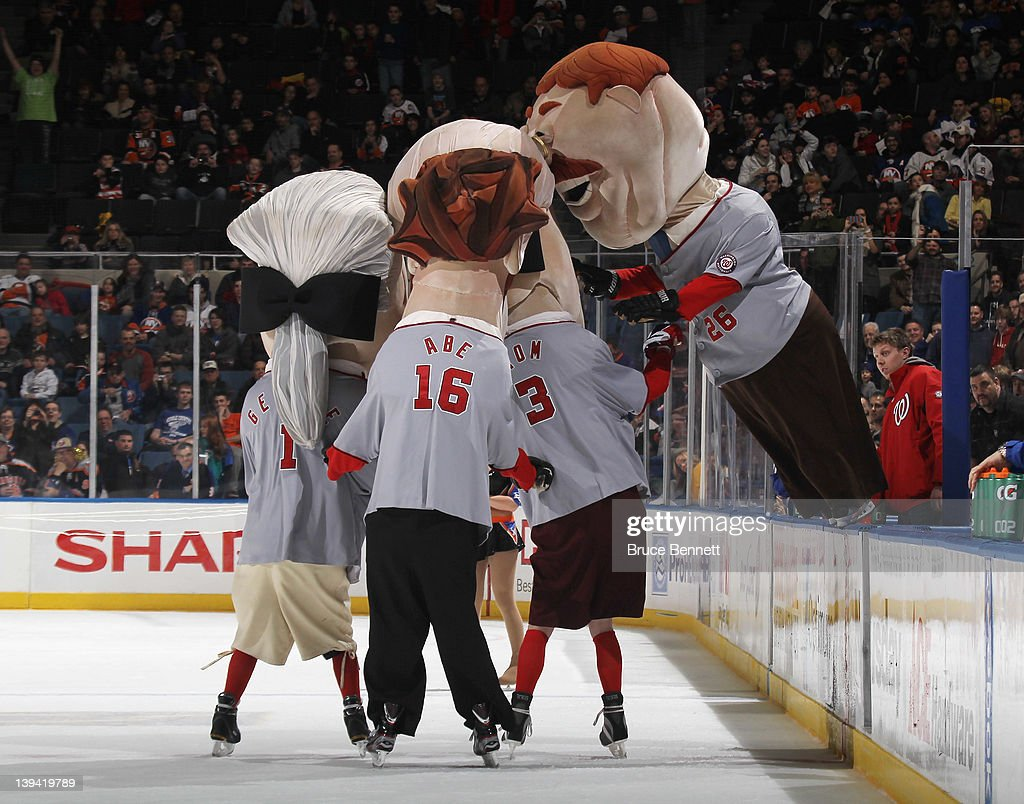 To celebrate President's Day, mascots dressed as US Presidents compete in a race between periods of the game between the New York Islanders and the Ottawa Senators at the Nassau Veterans Memorial Coliseum on February 20, 2012 in Uniondale, New York. The Senators defeated the Islanders 6-0.