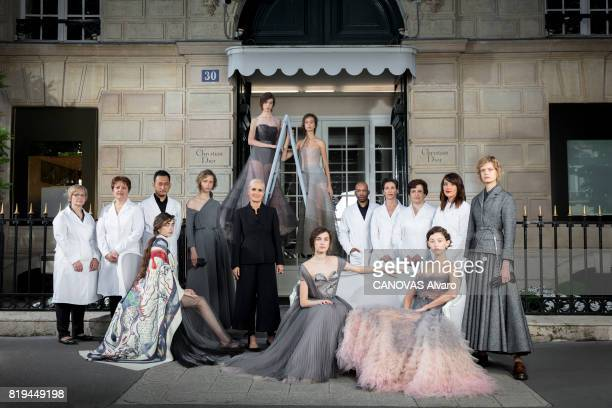 To celebrate the 70th anniversary of Dior with Maria Grazia Chiuri with her team and the models on july 05 2017 in Paris France