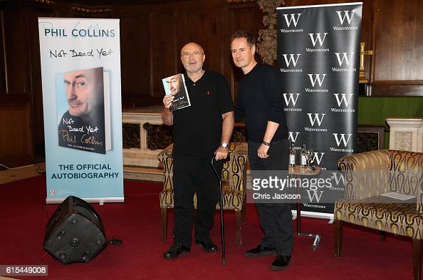 To celebrate the launch of his autobiography Not Dead Yet Phil Collins poses with Magic FMs Richard ahead of a talk at St James Church on October 18...