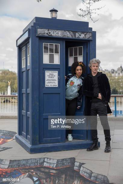 To celebrate the new series of 'Doctor Who' which returns to BBC One on Saturday April 15 Peter Capaldi and Pearl Mackie pose in front of the TARDIS...