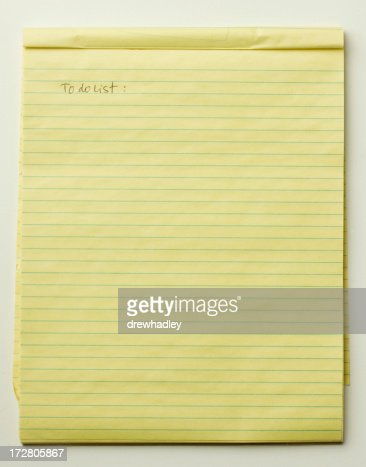 To Do List Lined Paper Legal Pad Picture Yellow Stock