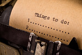 To do list typed on the vintage typewriter