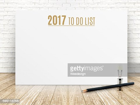 2017 To do list year on white poster with pencil : Stock Photo