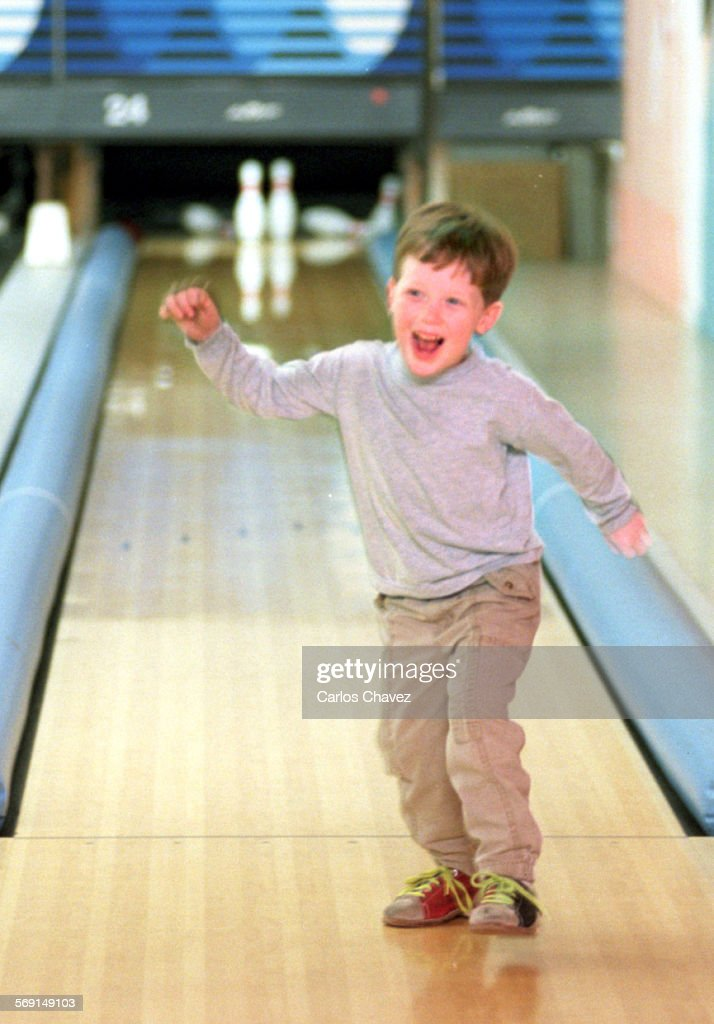 To excited for words is Dustin Terhune as he bowled a 99 during a game of bumper bowing in Simi Valley