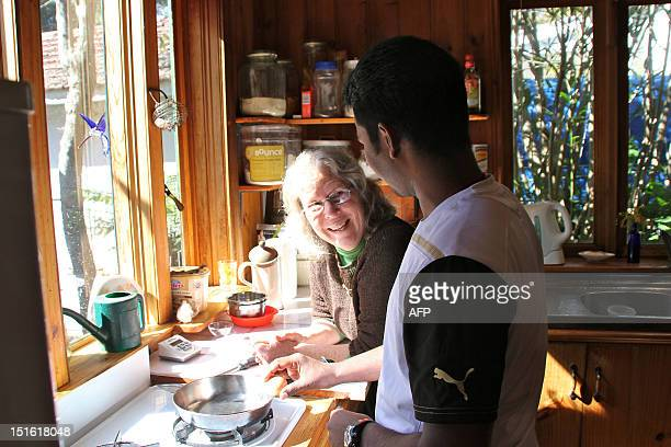To go with AFP story 'AustraliaimmigrationrefugeeFEATURE' by Elodie Raitiere This picture taken on August 17 2012 shows Australian host Martha...
