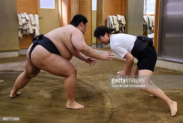 To go with AFP story JapanSocialWomenSumo Feature by Jessica Glanz In a photograph taken on January 25 female sumo wrestler Shiori Kanehira practices...