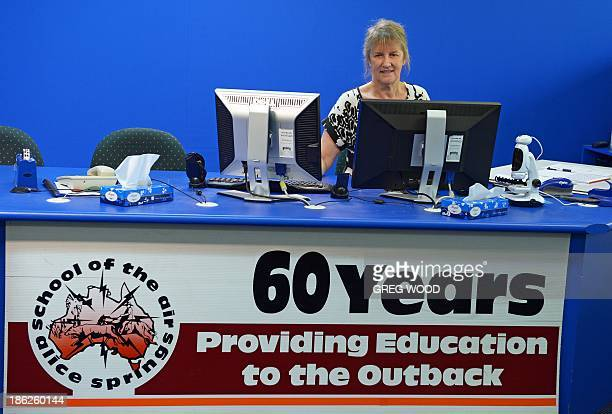 To go with AFP Story LifestyleeducationAustraliaoutbackFEATURE by Madeleine Coorey In this photo taken on October 10 teacher Kay Shanahan from the...