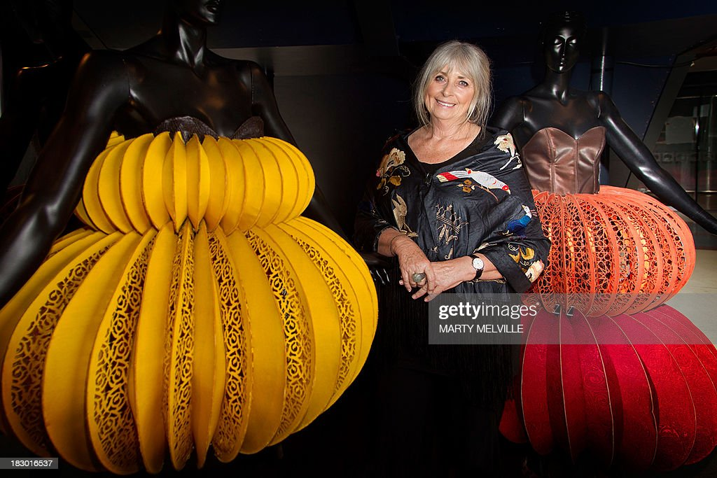 To go with AFP Story NZealand-fashion,FEATURE by Neil Sands In a picture taken on October 1, 2013, creator of The World of Wearable Arts show Dame Suzie Moncrieff poses for a picture in Wellington. Fashionistas at first scoffed at Suzie Moncrieff's displays of bizarre bras and out-there attire, but 25 years on international designers are clamouring to be part of Wellington's annual World of WearableArt show. AFP PHOTO / MARTY MELVILLE