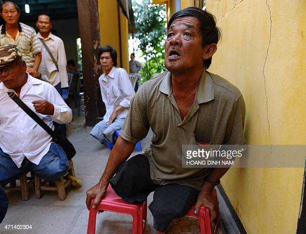 To go with AFP story Vietnamwarhistorypoliticsanniversary ADVANCER by Cat Barton This picture taken on April 9 2015 shows disabled soldiers from the...