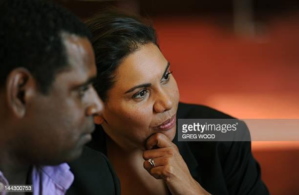 To go with AUSTRALIAENTERTAINMENTFILMFESTIVALCANNES by Madeleine COOREY In this photograph taken on May 9 Australian indigenous actors Deborah...