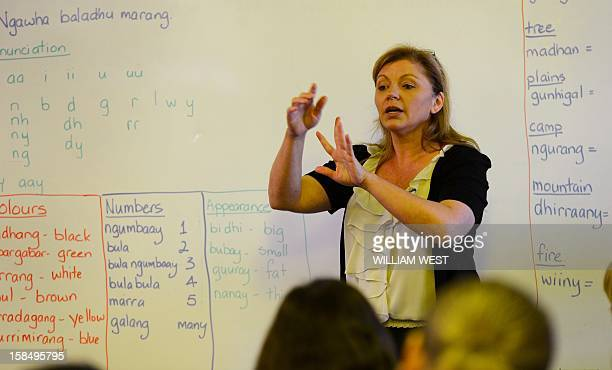 To go with 'AustralianativeAboriginallanguageFEATURE' by Madeleine Coorey In this picture taken on October 14 2012 teacher Noeleen Lumby teaches...