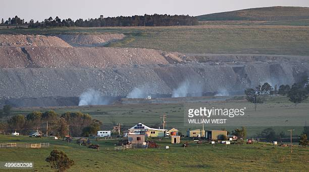 To go with ClimatewarmingUNCOP21AustraliacoalFEATURE by Madeleine Coorey A photo taken on November 18 shows an opencut coal mine in Singleton in the...