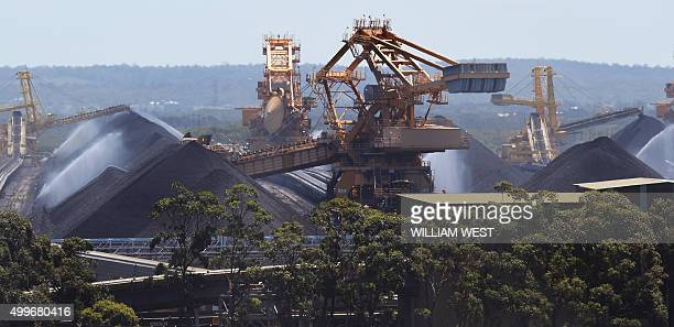 To go with ClimatewarmingUNCOP21AustraliacoalFEATURE by Madeleine Coorey A photo taken on November 18 shows some of the coal operations at the Port...