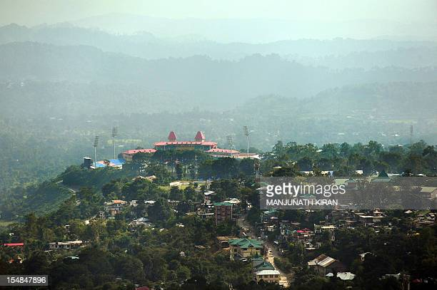 To go with 'CricketINDENGIndiaBritaintourism' by Ben Sheppard In a picture taken on September 26 the cricket stadium of the Himachal Pradesh Cricket...