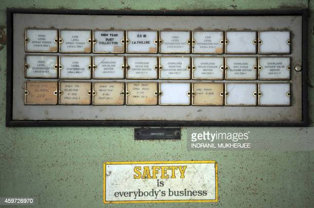 To go with IndiadisasterpollutionBhopalanniversaryADVANCER by Christian OTTON A notice propagating safety is seen on the casing of a machine inside...