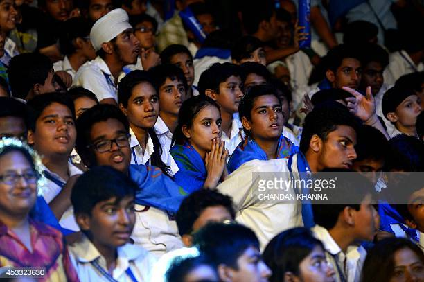 To go with IndiaSportLifestyleKabaddi by Abhaya Srivastava In this photograph taken on August 6spectators watch the match between Dabang Delhi and...