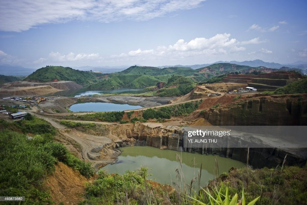 To go with MyanmarChinaminingeconomypoliticsresources by Kelly MACNAMARA Phyo Hein KYAW This photo taken on October 4 2015 shows a general view of a...