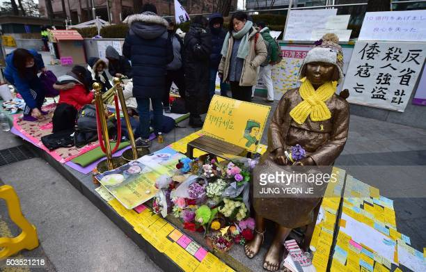 To go with SKOREAJAPANHISTORYPOLITICS Focus by Hwang SungHee South Korean students stage a sitin protest against a recent agreement between South...