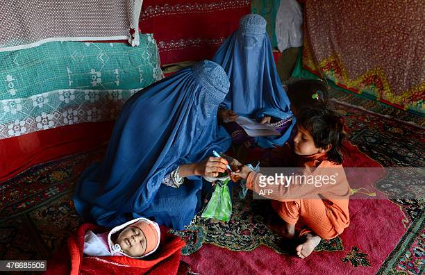 To go with story 'AfghanistanhealthunrestPakistanFEATURE' by Ben Sheppard In this photograph taken on February 24 2014 Afghan burqaclad women health...