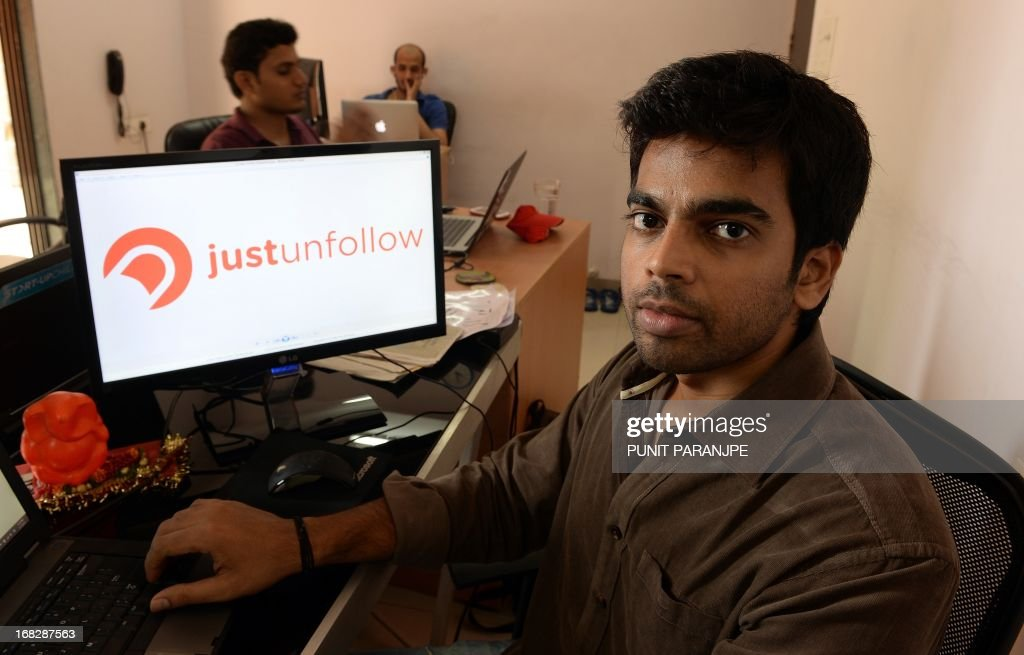 To go with story 'India-economy-technology-business-investment' by Salil Panchal In a picture taken on May 7, 2013, Indian software developer and entrepreneur Nischal Shetty (R), who developed Twitter application 'justunfollow', poses in his office in Vashi on the outskirts of Mumbai. It is seen as a land of entrepreneurs, economic growth and huge business potential, but India appears to be failing its promising startup companies which are struggling to find investors.