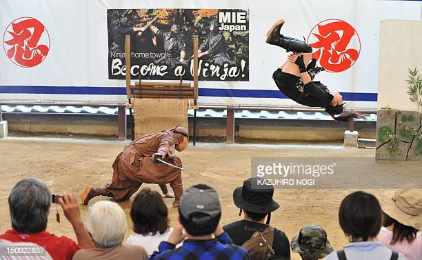 To go with story 'LifestyleJapanhistoryninjaFEATURE' by Miwa Suzuki Staff of ninja performance unit perform their skill during a ninja show at at the...