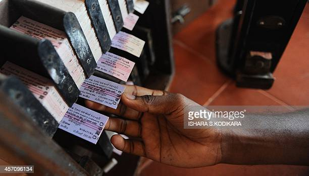 To go with story 'Sri Lankaunresttransporteconomy' by Amal JAYASINGHE In this photograph taken on October 1 2014 the ticket counter is seen in...