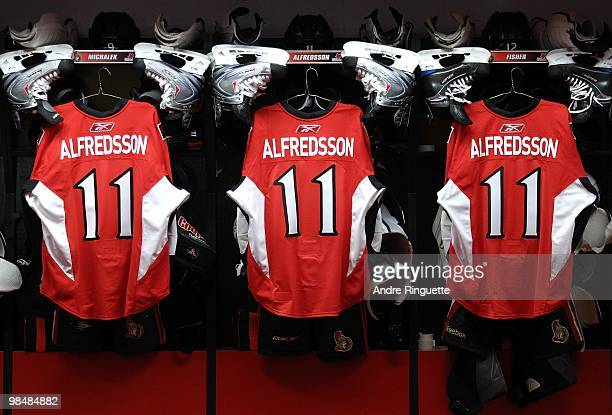 To honour Daniel Alfredsson's 1000 career NHL games with the franchise multiple jerseys with his name and number 11 hang in the Ottawa Senators...