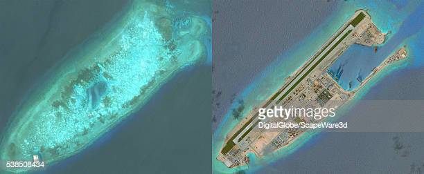 DigitalGlobe overview imagery comparing Fiery Cross Reef from May 31 2014 to June 3 2016 Fiery Cross is located in the western part of the Spratly...