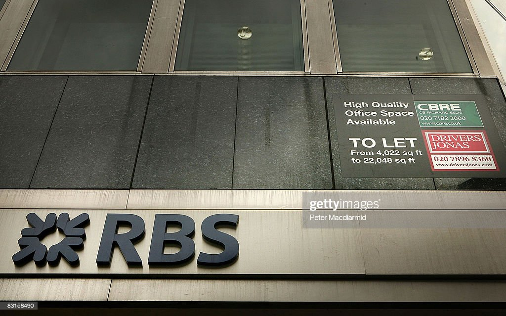 A to let sign is displayed in offices above a branch of The Royal Bank of Scotland on October 7, 2008 in London. Financial markets continue to fluctuate as the banking crisis continues.