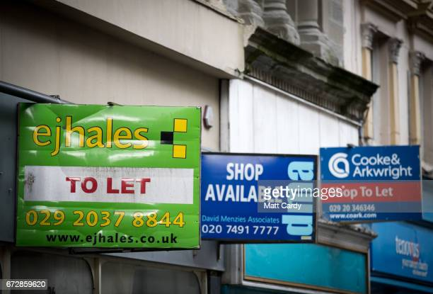 To let signs are displayed on empty buildings in the city centre on April 25 2017 in Newport Wales The British Prime Minister Theresa May's visit to...