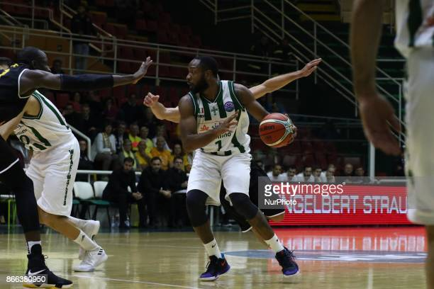 to pass of Dez Walls of Sidigas Avellino during third day of Champions League match between Sidigas Avellino v Oostende at Palasport Giacomo Del...
