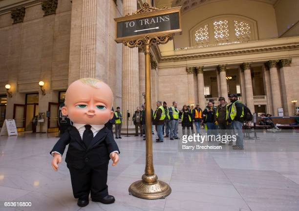 To promote the new DreamWorks movie 'The Boss Baby' the costume character of The Baby made an appearance at Union Station on March 15 2017 in Chicago...