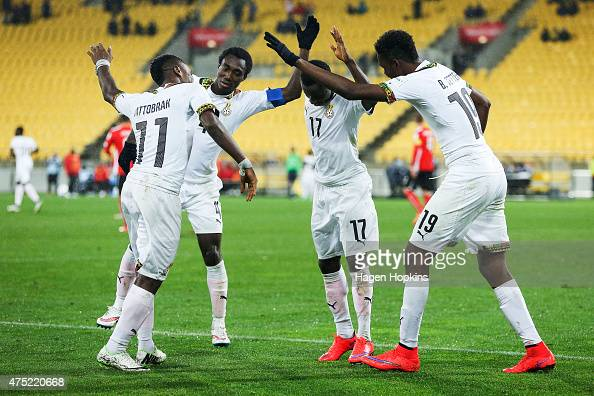 L to R Abraham Attobrah Joseph Bempah Yaw Yeboah and Benjamin Tetteh of Ghana celebrate Yeboah's goal during the Group B FIFA U20 World Cup New...