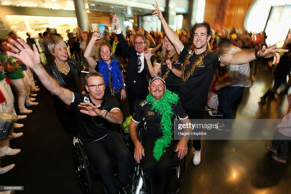 L to R, ACC Head of Injury Prevention Emma Powell, Chef de Mission Ben Lucas, Paralympian Kate Horan, Brazilian Ambassador to New Zealand Eduardo Gradilone, Paralympian Chris Sharp, Paralympics NZ Chief Executive Fiona Allan and Paralympian Liam Malone pose during Paralympics New Zealand's '100 Days To Go' event at Te Papa Museum on May 30, 2016 in Wellington, New Zealand.